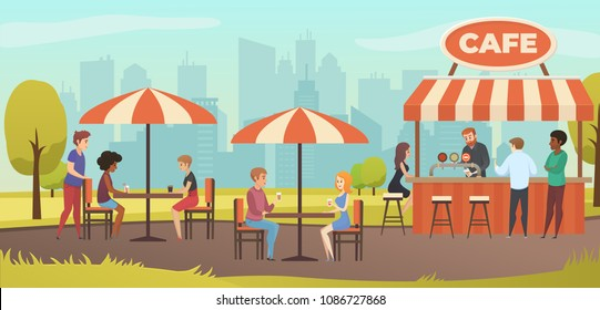 People Drink Coffe in Outdoor Vector Street Cafe on Restaurant Terrace. Park with Outside Cafe in Urban City landscape.