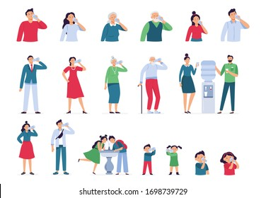 People drink water. Drinking water in bottle, glass and cooler for kids and seniors, adult man and woman drinks water healthy lifestyle vector set. Woman man drink water, cooler office illustration