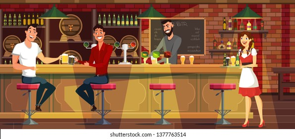People drinking beer in bar vector illustration. Friends talking, sitting at bar stool. Bartender pouring alcohol. Waitress cartoon character. Guys having fun in german pub after workday flat drawing