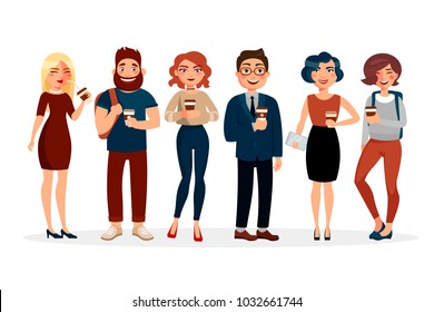 People drinking coffee vector flat illustration. Cartoon characters of young people with cup of coffee spending time together. Girls and boys standing in various poses isolated on white background.