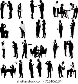 People drinking and waiter  silhouettes - vector