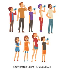 People Drinking Water from Plastic Bottles and Glasses Set, Men, Women and Children Enjoying Drinking of Fresh Clean Water Vector Illustration