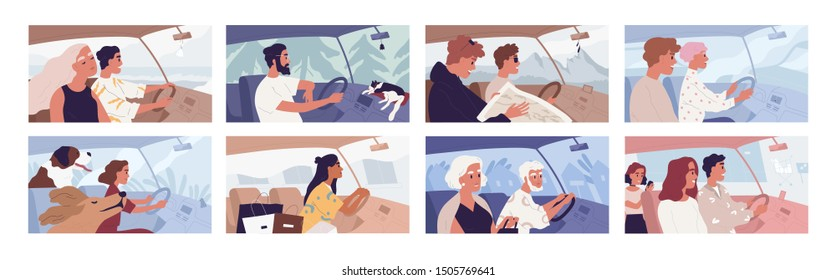 People driving car flat vector illustrations set. Road trip concept. Travelling with pets. Female shopaholic riding with purchases. Friends in vehicle finding route on map. Elegant lady in automobile.