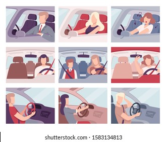 People Driving Cars Set, View from the Inside, Female and Male Drivers Characters Holding Hands on a Steering Wheel Vector Illustration
