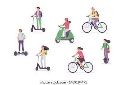 People Driving Different Electric Transport. Characters riding scooter, hoverboard, bike . Eco Friendly Vehicle Concept with Characters. Flat cartoon vector illustration isolated.