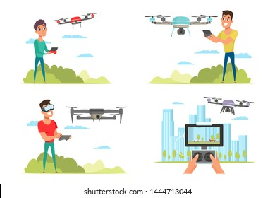 People with drone quadcopter flat vector illustrations set. Remote unmanned aerial vehicle with camera. Drone pilots, operators with remote controllers cartoon characters. Futuristic UAV, quadrotor