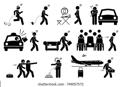 People dropping, forgetting, misplaced and losing their phone and belongings. Stick figure pictogram icons illustrate careless man lose his phone, bag, wallet, luggage and key.