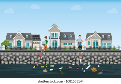 People dumping garbage into the river on modern house village background, water pollution environment conceptual vector illustration.