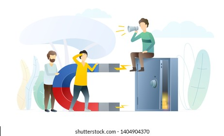 People earning money metaphor flat illustration. Magnet near cash-box with gold coins. Man, expert informing about financial opportunities. Workers, employees increasing income from bank deposit.