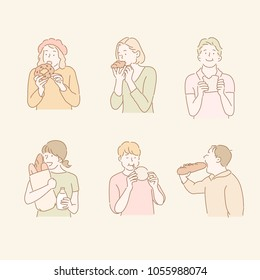 The people are eating bread. hand drawn style vector doodle design illustrations.