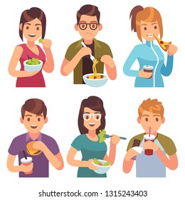 People eating. Eat drinking food men women healthy tasty dishes meals cafe casual lunch hungry friends, cartoon vector illustration