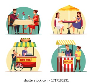 People eating food at cafe and snacking street market scene set. Lover couple drink have romantic dinner at restaurant. Girl friend rest at outdoor cafeteria. Man and woman buy hotdog and pop corn