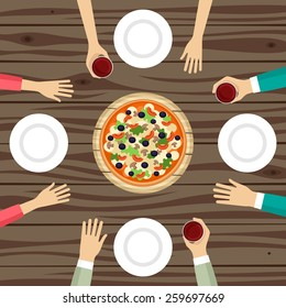 People eating pizza top view vector illustration