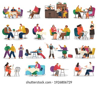 People eating scenes set. Friends or business partners are sitting in cafe or restaurant at a table eating and drinking, have dinner. Cheerful company of people man and women in the club having fun