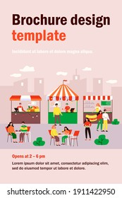People eating at street food court, visiting festival in park, buying fast food in kiosks. Vector illustration for food market, summer, catering concept