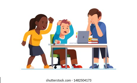 People emotional outburst. Worker big mistake, failure or suffering huge loss. Team looking at laptop screen on office desk, woman screaming in anger, man tearing hair, crying in despair. Flat vector