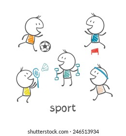 people engaged in sports illustration
