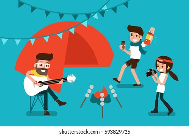 People enjoy camping-party, flat design illustration.