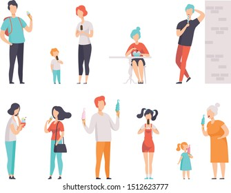 People enjoying eating with their ice cream set vector Illustrations on a white background