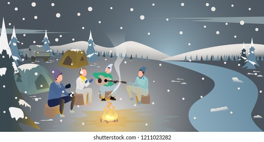 People are enjoying a fire in the snow,relax outdoors in the winter parks,sing a song and play the guitar,camping in beautiful winter Christmas night,cartoon character flat style,vector illustration.