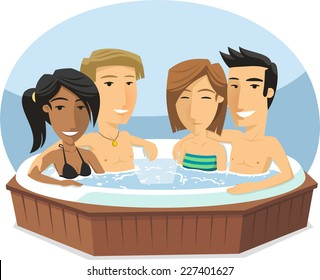 People enjoying Jacuzzi Hot Tub Bath Spa, vector illustration cartoon.