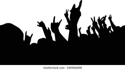 The people are enjoying making different hand gestures on the concert.