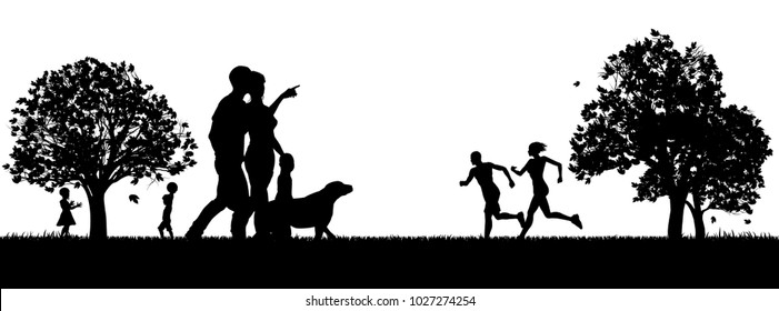 People enjoying the outdoors park silhouettes with runners exercising, couple and small child walking a dog and kids playing catch in the background