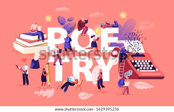 People Enjoying Reading and Writing Poetry Concept. Characters Read Classic Verses Books, Literature Poems. Ink Feather Usage Romantic Poster Banner Flyer Brochure. Cartoon Flat Vector Illustration