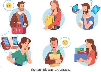 People enjoying shopping set. Person choosing and holding purchase. Happy buyer holding retail goods package boxes, shopping bags & basket. Modern consumers. Flat vector shopper character illustration