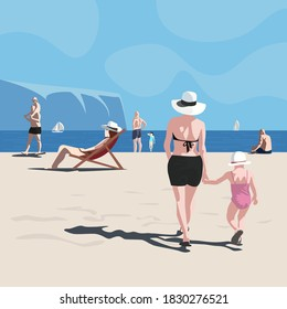 People enjoying sunny beach by the ocean, sea. Seashore full of life. Blue sky with clouds. Mom holding by hand her little child., together walking towards sea. Simple modern, minimalistic flat design