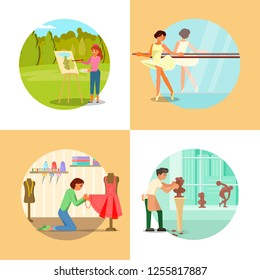 People enjoying their hobbies vector flat illustration. Painting, ballet dancing, sewing, sculpting or modelling clay human bust. Arts and craft hobbies.