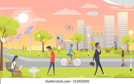 People entertain in park. Speak on phone, communicate, ride bike, walk with pet, play with drone, segway. Modern park with solar panels, wi fi zone, internet access. Rest zone in urban city. Vector