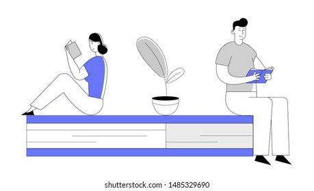 People Enthusiastically Reading Sitting on Huge Book. Young Woman and Man Students Spend Time in Library or Prepare for Examination Characters Gaining Knowledge. Cartoon Flat Vector Illustration