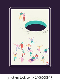 People escaping in a huge sinkhole. flat design style minimal vector illustration
