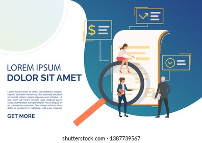 People examining document with loupe. Agreement, scrutiny, exploration. Contract concept. Vector illustration can be used for presentation slides, web pages, layouts
