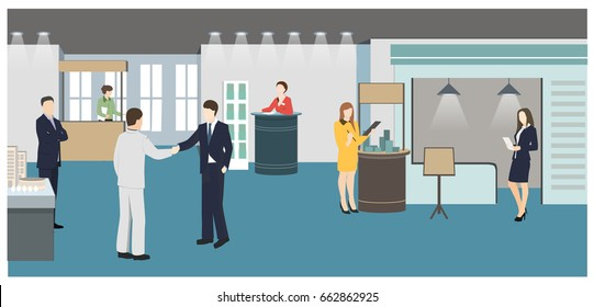 People at the exhibition business flat style vector illustration. Holding events. Presentation of business ideas in the gallery. Visitors of exhibition.