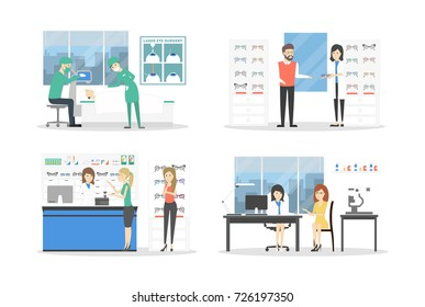 People at eyeglasses store set. Checking vision and choosing glasses on white background.