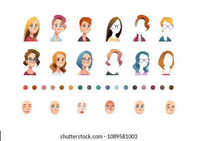 People face set creator. Flat icon. Person avatar illustrations. Young woman. Cartoon style, isolated vector. Different skin and hair colour.