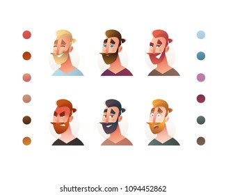 People face set creator. Flat icon. Person avatar illustrations. Young hipster man. Cartoon style, isolated vector. Different skin and hair colour.