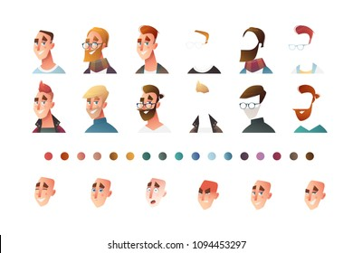 People face set creator. Flat icon. Person avatar illustrations. Young man. Cartoon style, isolated vector. Different skin and hair colour.