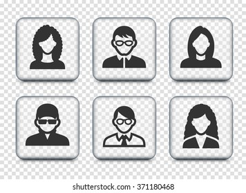 People Face Set on Transparent Square Buttons