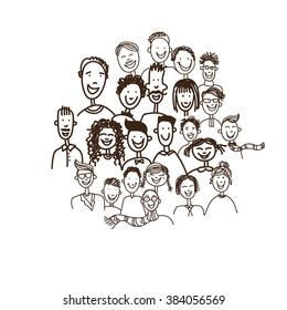 People Face Sketch Portrait Group Hand Drawn Black Line Doodle Vector Illustration