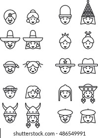 PEOPLE FACES FROM ALL OVER THE WORLD outline icons