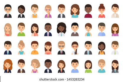People faces. Avatar character in flat design. Business person. Vector. Men and women icons isolated on white background. Set female, male office workers. Cartoon illustration.