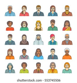 People faces avatars linear vector icons. Flat line portraits of men and women, young and senior. Caucasian, African, Asian, Arab ethnicity. Characters with different lifestyles, hairstyles, clothes