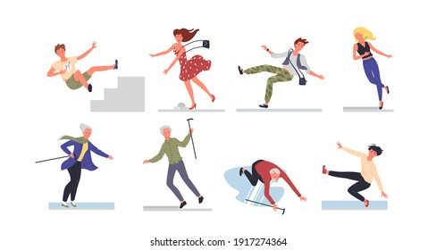 People fall vector illustration set. Cartoon young and old woman man characters falling down ladder stairs or on wet floor, teen boy and girl slip at risk of danger injury accident isolated on white