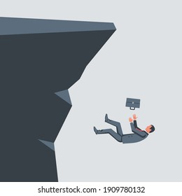 People falling cliff. Businessmen follow each other. Unprofitable investments, business failure. Vector illustration flat design. Isolated on white background.
