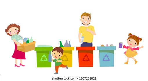 people family gathering garbage and plastic waste for recycling. vector illustration element isolated on white background.