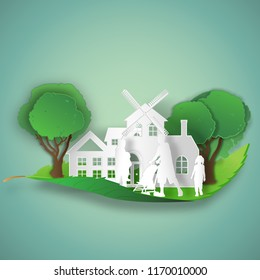 People and family in the Green tree on leaf as environment conservation , Eco and saving the earth concept , vector illustration.