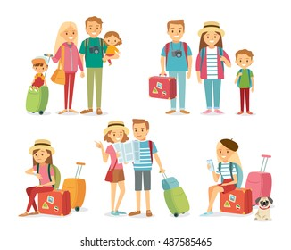People and family traveling on vacation